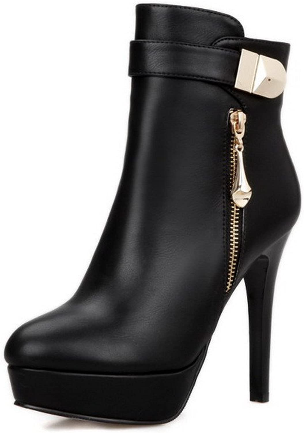 WeenFashion Women's Closed Round Toe Blend Materials High-heels Low-top Boots