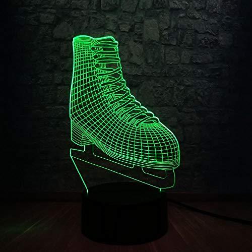 3D Nachtlicht Illusionslampe Ice Blade Hockey Skateschuhe Acryl Multicolor Wickeltisch Für Kinder Geschenk Sportraum Dekor Lava