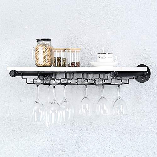 Estantería industrial para colgar en la pared, con 5 soportes de vidrio, estante de hierro steampunk flotante para barra de vino, soporte para tallos, estante de pared de madera real de 24 pulgadas