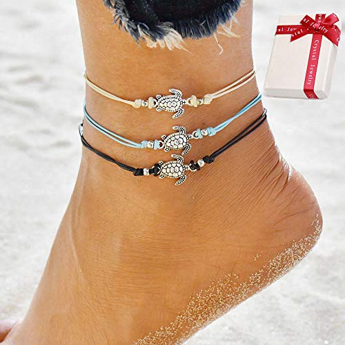 Ouceanwin Boho Turtle Fußkette Damen Fußbändchen Schildkröte, 3 Stück Fußkette Lederband Mode Knöchel Armband Perlen Verstellbar Charm Fußband Handmade Schmuck für Frauen und Mädchen