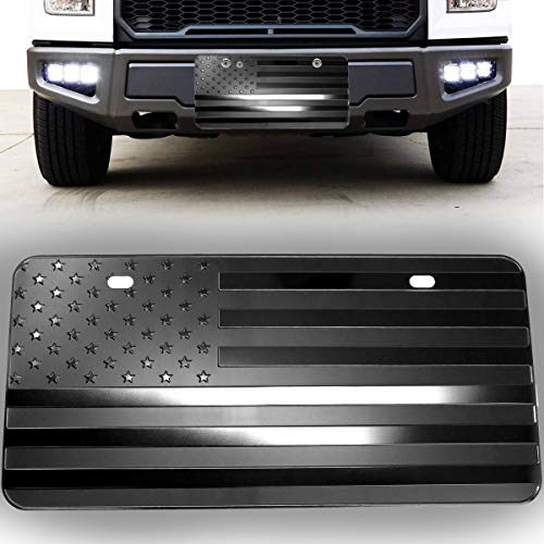 VaygWay USA American Flag Plate – Monochrome Flag License Plate Cover – Embossed Flag Front License Plate – Decorative Patriotic American Flag Plate