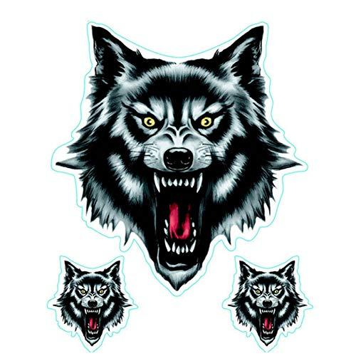 WADMY Autosticker, 1 stuks, wolf hoofd, decoratie, schedel, kop, vuur, vlam, grappige zelfklevende stickers voor motorfiets, autodeur, sticker, vrachtwagen, helm, decoratie A
