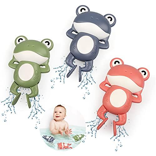 BelleStyle Juguetes Baño Bebe, Juguetes Bañera para Bebe Niños Niñas de 1 2 3 4 Año, 3 Piezas Rana Juguetes de Agua Plastico Piscina de Verano Baño Rana Juego de Ducha para Pequeños Niños