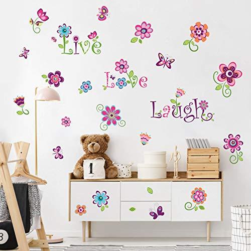 decalmile Pegatinas de Pared Jardín de Flores Vinilos Decorativos Mariposas Floral Adhesivos Pared Habitación Infantiles Niña Dormitorio Salón