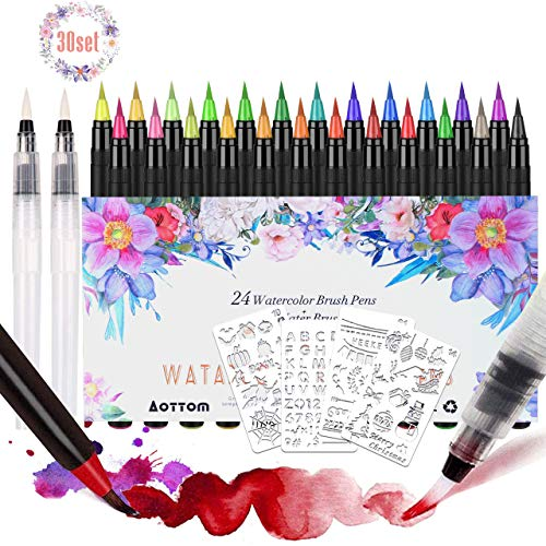 Facio 24 Pack Pinselstifte Aquarell,Wasserfarben Pinselstifte 24 + 2 Aquarell Pinsel Marker Stifte Set handlettering stifte mit flexiblen Nylonspitzen für Bullet Journal, Kalligraphie, Geschenk