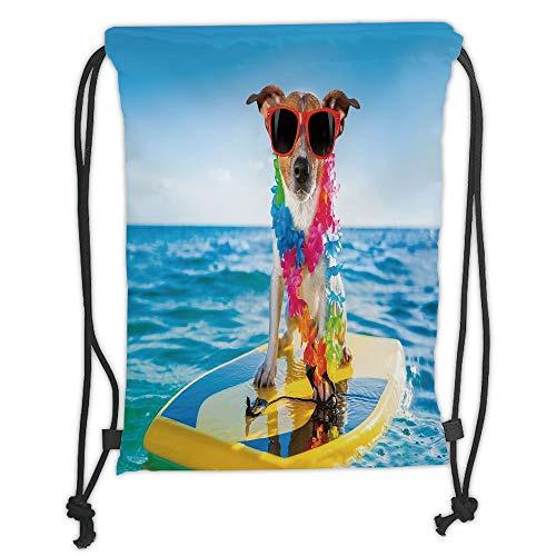 Fevthmii Rucksäcke mit Kordelzug, für Hunde im Ozean, zum Schwimmen und Schwimmen, Comic-Bild, Blau/Gelb, weicher Satin, 5 Liter Fassungsvermögen, Verstellbarer Schnur-Verschluss,