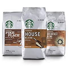 Starbucks Medium Roast Variety Pack includes 1 bag each of Pike Place Roast, House Blend and Breakfast Blend ground coffee Medium-roasted coffees have smooth and balanced taste How to Brew: For best taste, use cold, filtered water and store ground co...
