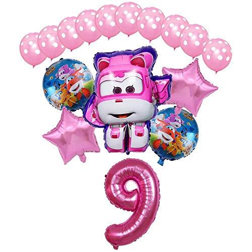 XIAOYAN Globos 16pcs Super Wings Balloon Jett Globloons Super Wings Toys Fiesta de cumpleaños 32 Pulgadas Número Decoraciones Niños Juguete Globos Suministros ( Color : Pink9 )