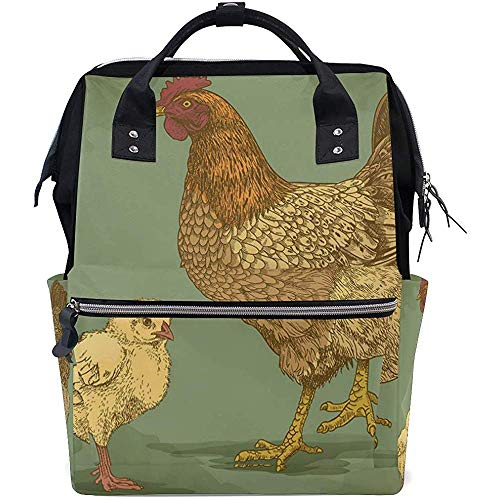 Backpack Country Chicken 28X18X40Cm Baby Bags Multi-Function Grande Capacité Travel Diaper Backpack Mom Zipper Casual Backpacks Dad Unisex