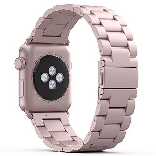 PUGO TOP Cinturino Replacement for Apple Watch, Cinturino in Acciaio Wrist Band per Apple Watch -Oro Rosa 42mm/44mm