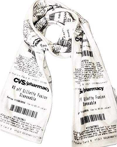 CVS Receipt Scarf, soft fleece scarf, mens scarf or womens scarf, professionally made, white with black lettering, 59in. x 8in.