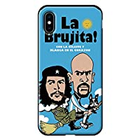 iPhoneXS Max iPhoneケース (ハードケース) [ミラー付き/カード収納/耐衝撃] soccer junky (サッカージャンキー) revolucionario y Brujita CollaBorn (水色)