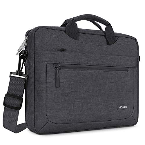 MOSISO Laptop Briefcase Shoulder Bag Compatible with 13-13.3 inch MacBook Pro, MacBook Air, Notebook Computer Polyester Messenger Carrying Sleeve with Adjustable Depth at Bottom, Space Gray