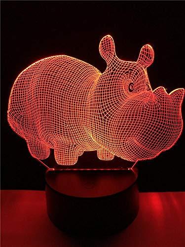 Wildschutz Tier niedlich Nashorn 3D Tischlampe Kind Geschenk LED Illusion mehrfarbigen Tisch Nachtlicht Nachttisch Dekoration kreative Kind Baby