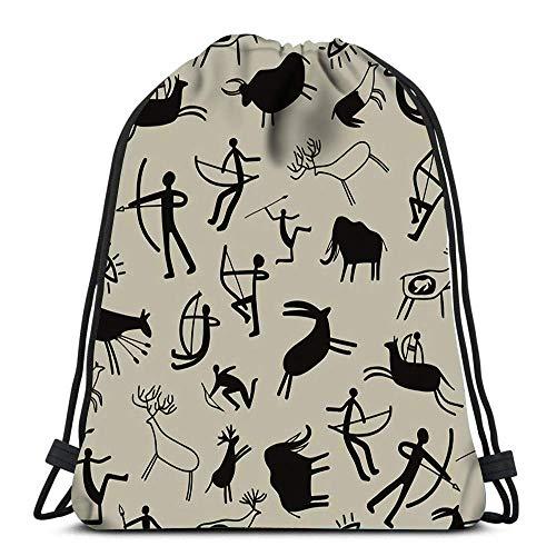 Lmtt Drawstring Bags Backpack Cave Painting Travel Gym Bags Rucksack Shoulder