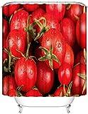 DINGQING Haus Dekoration. Leckere Tomaten. Duschvorhang: 180X180 cm. 12 C-Förmige Haken. 3D Hd Druck. Wasserdicht. Nicht Verblassen.