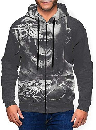 Conor Mcgregor Hoodies Sweater Novelty Zipper Shirt Men's Hoodie Sweatshirt Jacket,Black,Medium