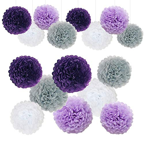 Purple White and Grey Wedding Decorations Tissue Paper Flowers Pom Poms Balls for Bridal Shower Bachelorette Baby Girl Boy Theme Birthday Party Supplies Set (Dark Purple, Grey, Purple, White)