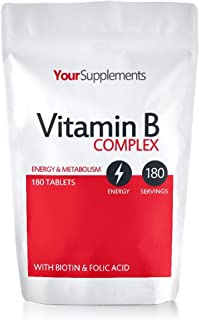 Your Supplements - Complejo Vitamina B - 100% Cantidad diaria recomendada - 180 Tabletes