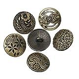 Souarts - Bottoni rotondi, in metallo, incisi con motivo: misto, colore: bronzo, confezione da 30 pz