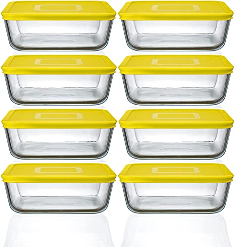 Pyrex Cook n Fresh - Square Storage Set - Set of 8 Dishes with Yellow Plastic Lid - 2.0L (Dimensions: L20 x W20 x H 7.5 cm)