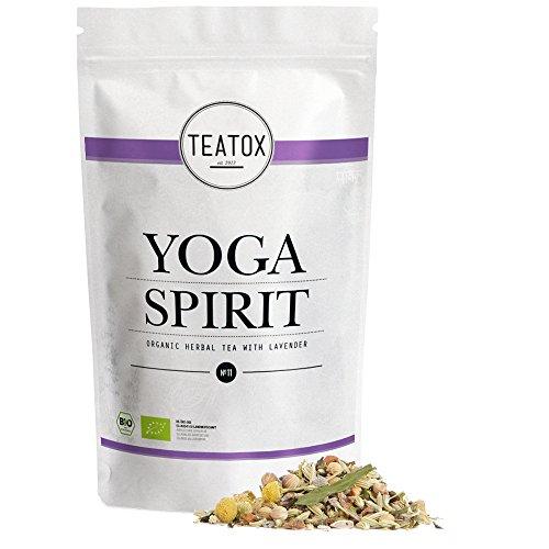 Teatox Bio-Kräutertee YOGA SPIRIT für innere Gelassenheit | loser Tee aus 11 Gewürzen, mit Lavendel, Hanf & Fenchel, koffeinfrei | 100% biologisch & vegan, ohne Aromen & Zusätze | 60g, Ziplock-Beutel