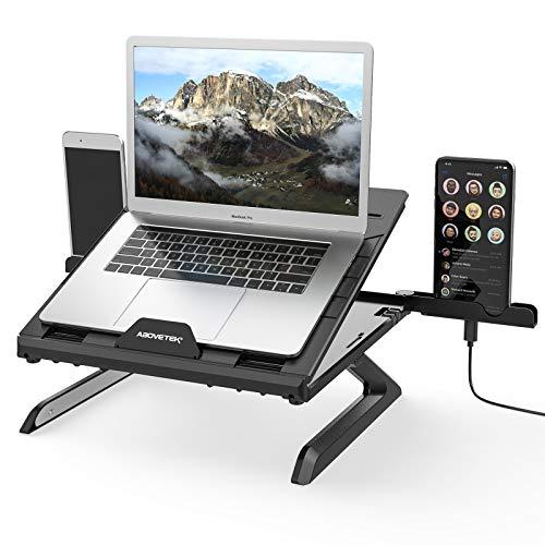 AboveTEK Laptopständer mit Eingebauten Faltbaren Beinen, Laptophalter 9 Höhen/Winkelverstellbare, Laptop Halterung Faltbar für Dell/Samsung/MacBook Pro/Air/Lenovo alle 6''-17'' Notebooks