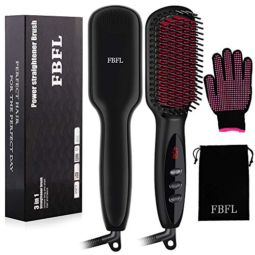 Enhanced Hair Straightener Heat Brush by FBFL, 3-in-1 Ionic Hair Straightening Brush, Hot Comb with Anti-Scald & Auto-Off Safe Function, Straightening Comb for Salon at Home