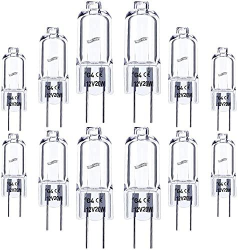 ASPRE UK – G4 Halogen-Leuchtmittel, 20 W, 12 V, G4 Halogen-Stiftsockel, Warmweiß, klar, 10 Stück