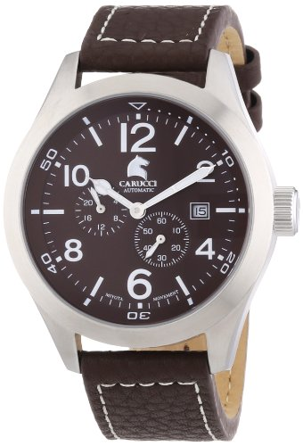 Carucci Watches Herren-Armbanduhr XL Analog Automatik Leder CA2202BR