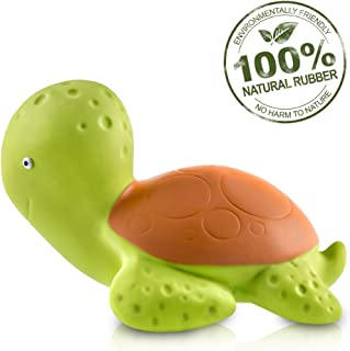 Pure Natural Rubber Baby Bath Toy - Mele the Sea Turtle - Without Holes, BPA, PVC, Phthalates Free, All Natural, Textured for Sensory Play, Sealed Bath Rubber Toy, Hole Free Bathtub Toy for Babies