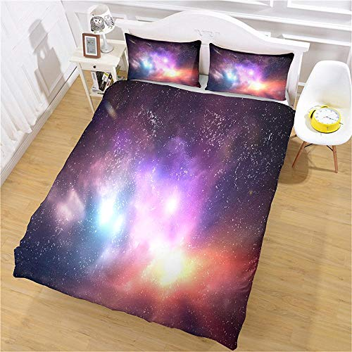 PERFECTPOT Super King Duvet Cover Set Starry Sky Printing Bedding Sets in Polyester with Zipper Closure, 1 Quilt Cover 260x220 with 2 Pillowcases for Children Boys Girls Adults