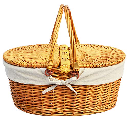 Cheapest Prices! LOOKAT Wicker Picnic Basket,Storage Baskets with Folding Handles & Liners, Stor...