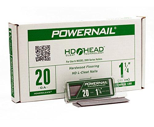 """Powernail 20ga 1-1/4"""" HD L Cleat Flooring Nail (5-1000ct boxes)"""
