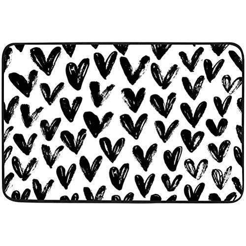 Doormat, Seamless Pattern with Hearts Ornament for Valentine s Day Ink Illustration Isolated, W15.75 x L23.6 Inch Decorative Polyester Floor Mat with Non-Skid Backing