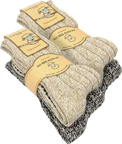 normani 2, 4 Paar oder 6 Paar Norweger Strick-Socken mit Antirutsch Sohle, Woll Socken mit ABS Sohle. Hütten Socken Farbe 4 Paar Größe 43-46