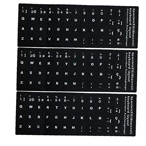 Sanfiyya Teclado Pegatinas reemplazo español no Transparente con Fondo Negro en Letras Blancas para Laptops 3PCS