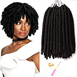 7 Packs 8 Inch Short Small Havana Mambo Twist Crochet Braids Synthetic Spring Twist Hair Extension Afro Kinky Curly Crochet Hair (1B#)