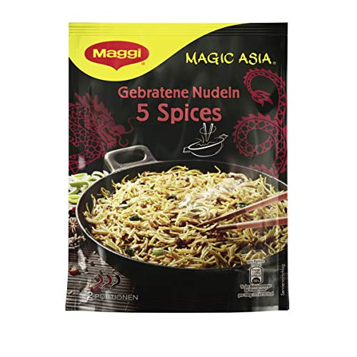 Maggi Magic Asia Gebratene Nudeln 5 Spices, leckeres Fertiggericht, Instant-Nudeln, asiatisch gewürzt, 12er Pack (12 x 128g)