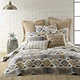 Levtex Home - Santa Fe Quilt - Ikat Pattern in Soft Grey, Cream and Tan - Full/Queen Quilt Size (88 x 92in.) - Reversible Pattern - Cotton - Shams Sold Separately