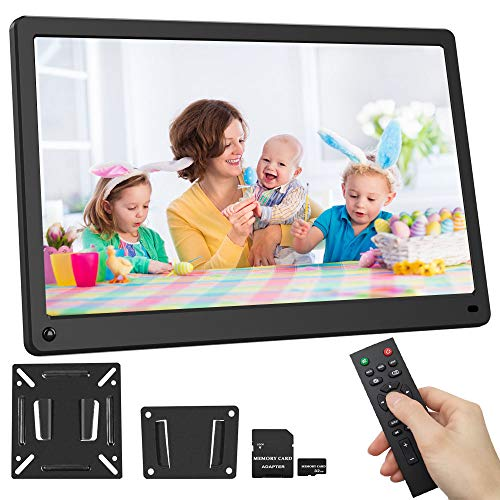 15.6 Inch 1920x1080 Digital Picture Frame Motion Sensor IPS Screen Include 32GB SD Card HD Video Frame, Photo Auto Rotate, Background Music, Auto Time On/Off, Calendar, Alarm Clock(Black) Materials Presentation Storage