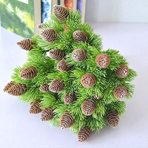 XFLOWR Kunststof dennenboom 7 takken pijnboomkernen tegels vervalste planten boom voor kerstfeest decoratie Faux Gras Kerstmis woning 2 stuks