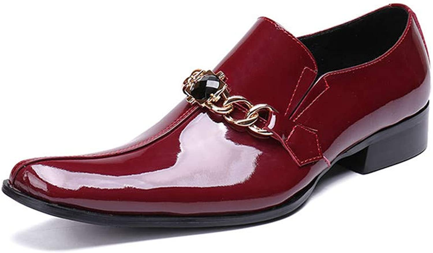 Sunny&Baby Men's Premium Genuine Patent Leather Oxfords Pointed Toe Wedding Dress shoes for Gentlemen with Metal Decor Abrasion Resistant (color   Red, Size   6 D(M) US)