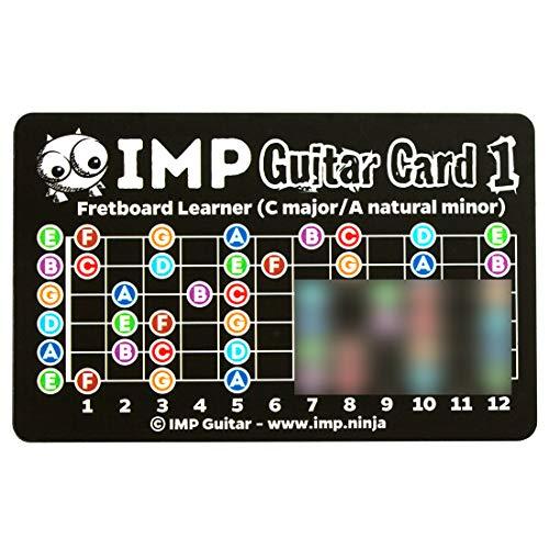 IMP Gitarrenkarten - *RECHTSHÄNDER-VERSION* - Griffbrett-Noten lernen – Akkordfolgen – Grundtonleitern – Tonleiter, Akkord & Modusaufbau – Gitarren-Theoriereferezen in Taschengröße