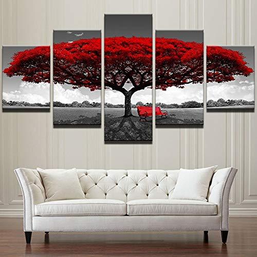 Geiqianjiumai Canvas schilderij 5 stuks van decoratieve schilderij spuiten canvas schilderij vijf rode blad boom film poster