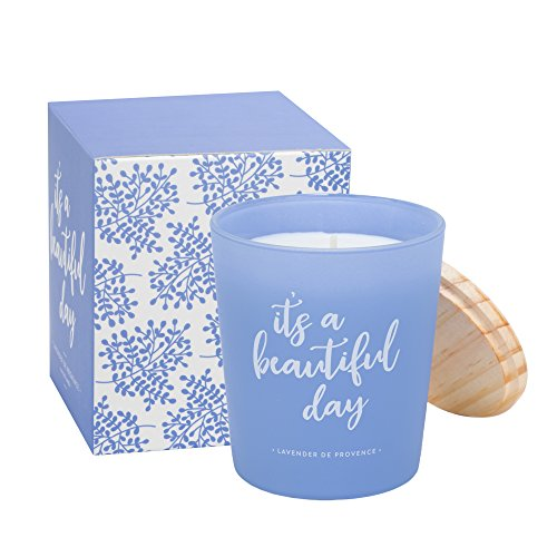 Eccolo Lavender De Provence Scented Candle, It's a Beautiful Day Quote, Matching Gift Box - Made in Spain 7.5 Oz