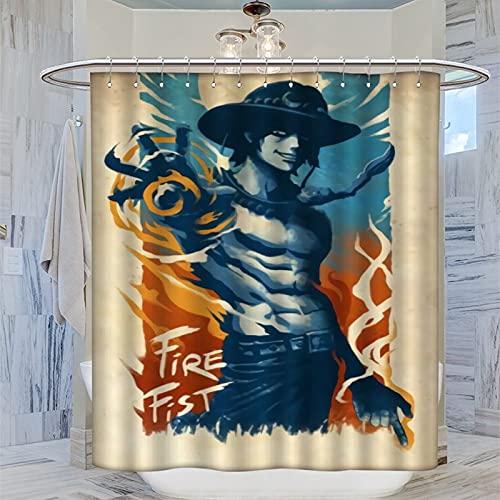 DRAGON VINES Ein Stück Fire Fist Ace Portgas D Ace Duschvorhang, wasserdicht, Badezimmer-Dekoration, Zubehör, 120 x 160 cm