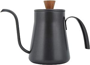 Dekaim Water Pot,400ml roestvrij staal Retro Hand Koffie Water Thee Smalle Mond Pot met Handvat Deksel