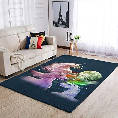Yrgdskuvle Alfombra de salón, tres unicornios y lunas, elegante, suave, para dormitorio, puerta de casa, color blanco, 50 x 80 cm