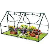 Stream Mini Greenhouse for Raised Garden Bed, Indoor Outdoor Portable Stand Gardening Greenhouse with PE Cover and Roll-Up Zipper Door for Seedling, Flowers, Plant Growing-70.87' x 36.22' x 36.22'